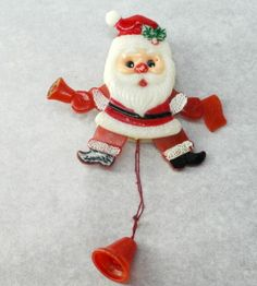 Mechanical Santa Pin Brooch Christmas Vintage