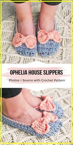 Crochet Ophelia House Slippers - Easy Crochet Slippers Pattern - easy crochet slippers pattern for beginners Easy Crochet Slippers, Crochet Slipper Pattern, Crochet Boots, Crochet Scarves, Crochet Patterns, Crochet Ideas, Crochet Basics, Crochet Stitches, Crochet Supplies