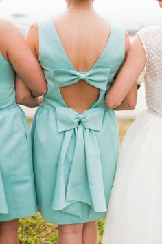 Colorful North Carolina Beach Wedding - Style Me Pretty Beach Wedding Photos, Beach Wedding Photography, Cute Bridesmaid Dresses, Bridesmaids, North Carolina Beaches, Bridesmaid Inspiration, Mint Dress, Dress To Impress, What To Wear