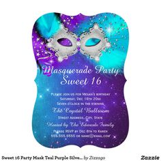 Find customizable Masquerade invitations & announcements of all sizes. Pick your favorite invitation design from our amazing selection. Invitation Paper, Invitation Design, Masquerade Party Invitations, Sweet 16 Masquerade, Sweet 16 Parties, Mask Party, 50th Birthday, Mardi Gras, Party Favors