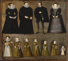 Group portrait of a family, traditionally identified as the Bartholomews of Burford, Oxfordshire, early 1600s (oil on panel) creator English School, (17th century) nationality English location Private Collection medium oil on panel date 17th (C17th)