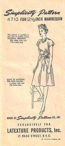 """Simplicity 4710 Dress for 12 1/2"""" Mannequin 1940's"""