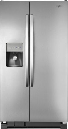 Whirlpool - 25.4 Cu. Ft. Side-by-Side Refrigerator with Thru-the-Door Ice and Water - Monochromatic Stainless Steel