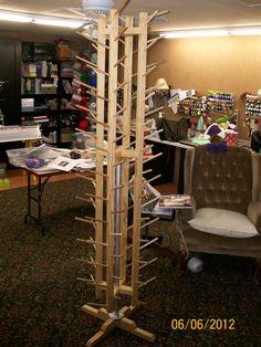 A yarn tree -- cool idea for storage!