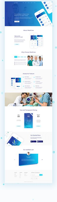 Medicare - App Landing page is one page Hospital related landing page. It's amazing, modern and clean landing page for Medicare apps. Medicare is a medical service apps. App Landing Page, Landing Page Design, Flyer Design, App Design, Branding Design, Medical Websites, Header Design, Mobile Web Design, Website Header