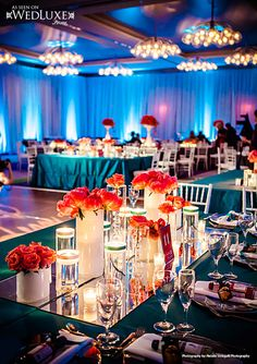 wedding table decorations with dark tablecloths | Luxury Tiffany blue Wedding Reception Decorations