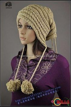 модная вязаная шапка чулок 2012