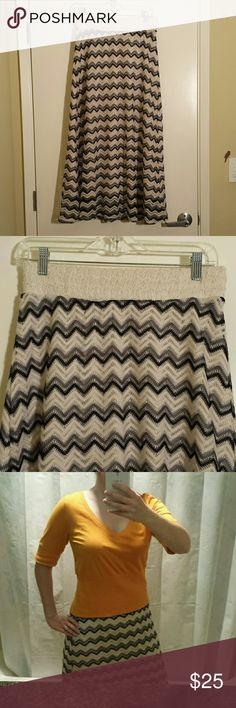 Anthropologie zig zag maxi skirt Pull on skirt by Lapis. Vintage styled zig zag knit with white, grey and black stripes. Similar to Missoni. The waist is elastic and can comfortably fit sizes 28 inch to 32 inches. Lined with cream underskirt. Anthropologie Skirts Maxi