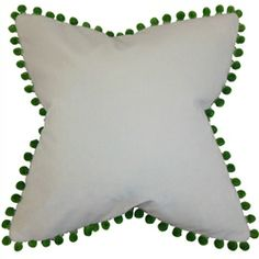 """Bring a traditional ambiance to your home with this lovely pompom throw pillow. This accent pillow features a fringe embellishment in shades of green. Adorn your sofa, bed or seat with this 18"""" pillow to add texture and style. Made in the USA and crafted with 100% velvet fabric. $55.00   #pompompillow   #pompom   #throwpillow   #homedecor   #tosspillow   #interiorstyling"""