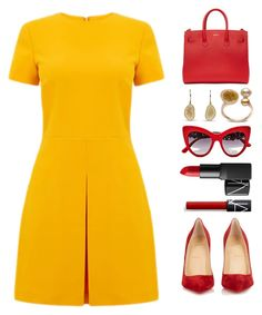 """""""Yellow and red"""" by totalfashiongirl ❤ liked on Polyvore featuring Warehouse, Christian Louboutin, NARS Cosmetics, Dolce&Gabbana and Off-White"""