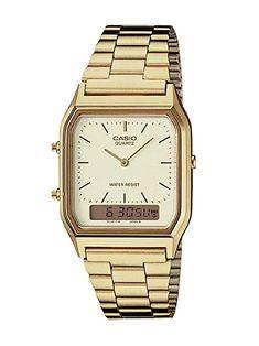 0739b06e9ed Casio AQ230GA-9D Mens Casual Classic Analog Digital Gold Watch Alarm  Stopwatch Review Joyero