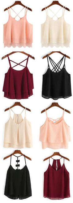 Apricot Spaghetti Strap Layers Chiffon Cami Top - Street Fashion, Casual Style, Latest Fashion Trends - Street Style and Casual Fashion Trends Komplette Outfits, Teen Fashion Outfits, Summer Outfits, Casual Outfits, Womens Fashion, Fashion Trends, Fasion, Fashion News, Fall Outfits