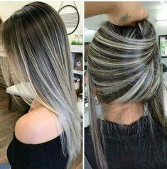 Balayage Hair Color Ideas for Brunettes Hair Color Highlights, Hair Color Balayage, Ash Blonde Highlights On Dark Hair, Gray Balayage, Bayalage, Hair Colour, Brown Blonde Hair, Brunette Hair, Pinterest Hair