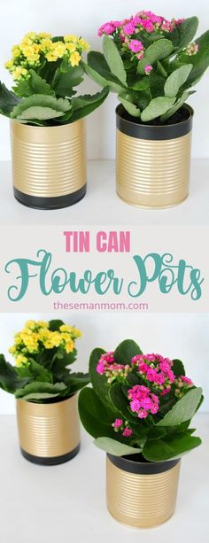 not recycle used tin cans into something pretty and useful like some recycled flower pots? Flower pot making has never been easier! Here's how to make tin plant pots in just a few easy steps. Tin Can Flowers, Vintage Flowers, Diy Flowers, Recycled Home Decor, Recycled Crafts, Recycled Tin Cans, Diy Cans, Diy Recycle, Recycle Cans