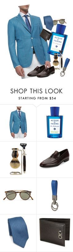 """""""Summer Gentleman"""" by cherithreadgill ❤ liked on Polyvore featuring Ermenegildo Zegna, Acqua di Parma, The Art of Shaving, Salvatore Ferragamo, Oliver Peoples, Tod's, Kiton, men's fashion, menswear and STYLEINFLUENCER"""