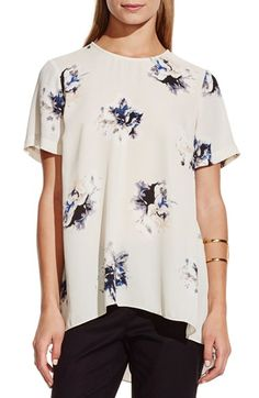 Free shipping and returns on Vince Camuto 'Duet Floral' High/Low Blouse at Nordstrom.com. Rendered in vivid detail, dramatic blossoms are scattered over a flowy crepe blouse cut with a high/low hem.