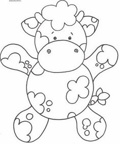 cow coloring page. great for applique on baby blanket Felt Patterns, Applique Patterns, Applique Templates, Coloring Book Pages, Coloring Sheets, Motifs Animal, Cute Cows, Digital Stamps, Coloring Pages For Kids