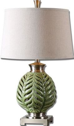 Crackled Lime Green Glaze With Brushed Nickel Details. The Round, Semi Drum  Hardback Shade · Green Table LampLight TableTraditional ...