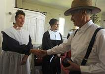 Early Pilgrim service in Sandwich Massachusetts as part of the 375th anniversary events