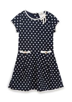 Rare Editions Navy Knit Dot Dress Girls 7-16