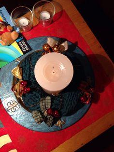 Kerstkrans van textielgaren
