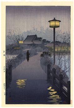 Evening Rain, Shinobazu Pond, 1938 by Shiro Kasamatsu - Japanese woodblock print. Japanese Art Prints, Japanese Artwork, Japanese Painting, Chinese Painting, Japan Illustration, Art Occidental, Japanese Woodcut, Art Asiatique, Art Japonais