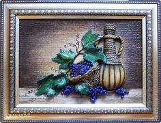 Картина панно рисунок Лепка Рисование и живопись Виноградное настроение Гуашь Тесто соленое фото 1
