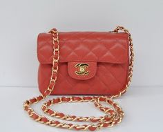 Mini Flap in Red Caviar Leather with Gold Chain