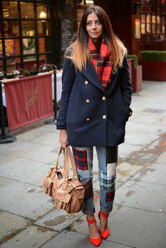 tartan trend EJSTYLE Fashion Blog Emma Hill Primark tartan patch jeans, H&M reefer coat, H&M tartan scarf, New Look red heels, Mulberry roxanne bag