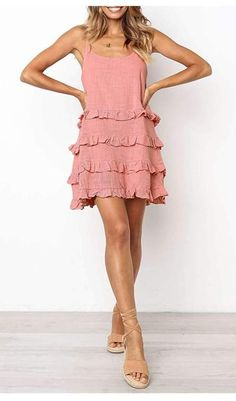 Temperate Ruffled Tie U-Neck Solid Color Mini Dress – linenwe cute dress ideas cute dress outfits cute prom dresses Elegant Party Dresses, Cute Prom Dresses, Casual Dresses, Short Dresses, Fashion Dresses, Dresses For Work, Summer Dresses, Mini Dresses, Vacation Dresses