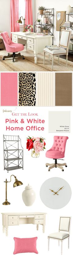 Get the look of this girly, home office with pink linen drapes, an animal print rug, and sophisticated accessories