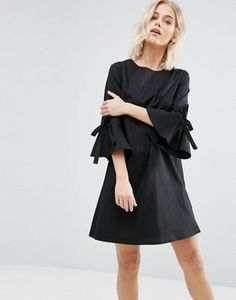 New Look Poplin Bow Sleeve Smock Dress
