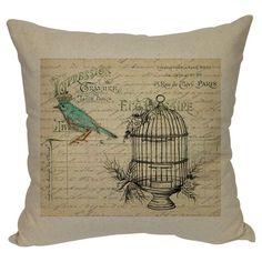 A charming addition to your sofa, bed, or chaise, this canvas pillow features a bird silhouette and typographic motif.   Product: Pil...