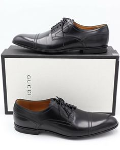 8f0aa8a9d13 NIB Gucci Mens Ravello Black Leather Lace-up Oxford Derby Cap-toe Shoes 11   630  Gucci  Oxfords