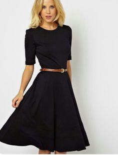 50a4a6b7f1ce MODA CRISTIANA AL DIA: Vestido negro con cinturón marron Modest Dresses  Casual, Modest Black