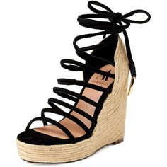 Ava & Aiden Dinah Ankle Tie Rope Wedge ($99) ❤ liked on Polyvore featuring shoes, sandals, heels, wedges, black, heeled sandals, platform heel sandals, wedge sandals, platform sandals and platform wedge sandals