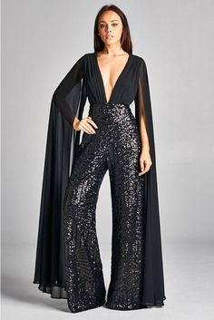 Women's Black Deep V Neck Open Chiffon Sleeve Sequin