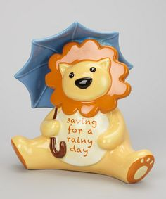 Take a look at this Blue 'Saving for a Rainy Day' Lion Bank by Grasslands Road on #zulily today!