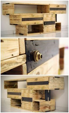Meuble TV Design / TV Stand 100% pallets wood #Furniture, #PalletTvStand, #Pallets