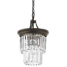 Kichler Emile 1 Light 12  Wide Chandelier with Cascading Glass Shade - Olde Bronze