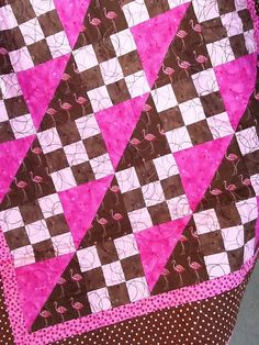 PInk and brown flamingo baby quilt