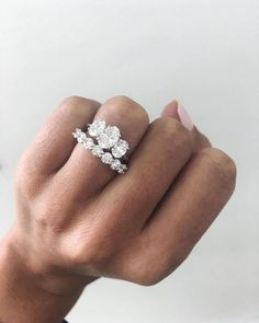 Diamond Wedding Rings Beautiful trilogy diamond engagement ring perfectly matched with a half eternity ring ✨ Wedding Rings Simple, Wedding Rings Solitaire, Bridal Rings, Vintage Engagement Rings, Wedding Bands, Oval Engagement, 3 Diamond Engagement Rings, Engagement Bands, Trilogy Engagement Ring