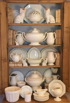 Beautiful display of creamware and salt glazed pieces