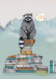 Illustration of susanne hiepler  The clever Racoon - you don't have to protect yout wastebin just your bookshelf.