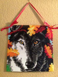Stunning Autumn Wolf Perler Bead Sprite Wall door TheHouseThatCrafts