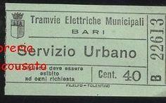 TRAMVIE ELETTRICHE MUNICIPALI - BARI - BIGLIETTO TRAM servizio urbano  cent.30