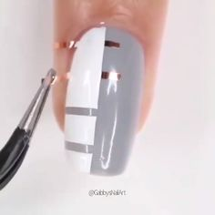 A cute nail design by Nail Art Designs Videos, Grey Nail Designs, Nail Art Videos, Simple Nail Art Designs, Cute Acrylic Nails, Cute Nail Art, Nail Art Diy, Easy Nail Art, Nail Design Glitter