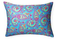 Paisley 14x20 Outdoor Pillow, Teal on OneKingsLane.com  Paisley 14x20 Outdoor Pillow, Teal   Divine Designs    As ebullient and colorful as an exotic souk, the bright paisley pattern on this pillow captures the essence of summertime fun. Printed on both sides.     The luscious colors and so-chic patterns that are a hallmark of Divine Designs' throw pillows are now available for your deck, patio, and balcony too.