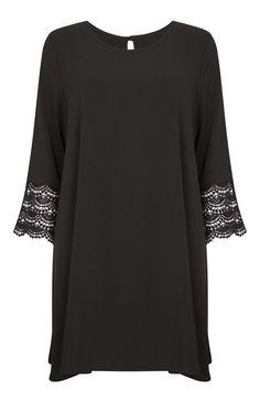 Primark - Robe en crêpe à manches en crochet noire