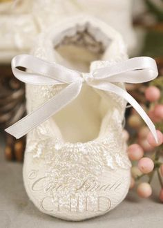 Memory Lace Christening Slippers  http://www.onesmallchild.com/products/Memory-Lace-Christening-Slippers.html